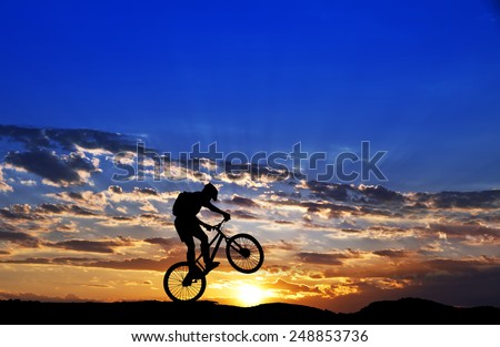 mountain cyclist - stock photo