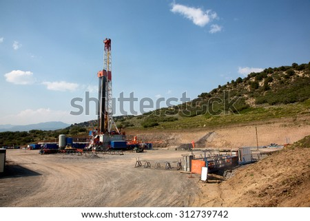 Mountain Drilling Rig - stock photo