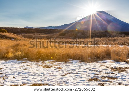 Mountain Fuji Diamond sunrise in winter - stock photo