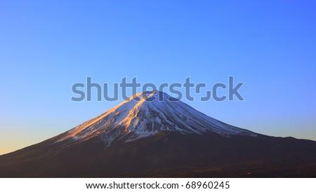 Mountain Fuji in clear winter morning - stock photo