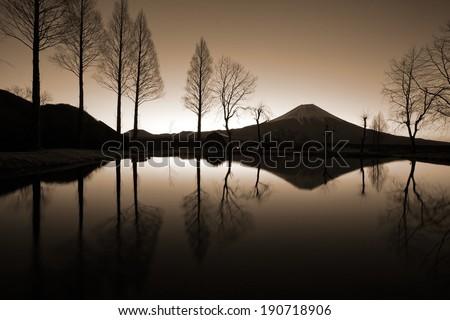 mountain fuji in morning - stock photo