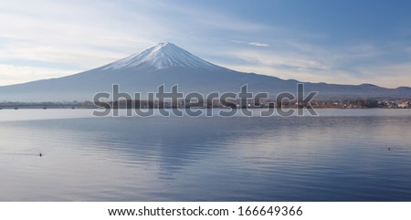 Mountain Fuji in winter  - stock photo