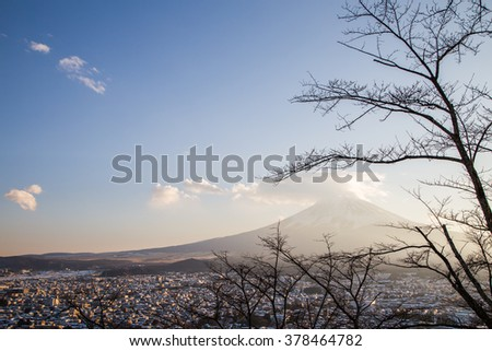 Mountain Fuji in winter sunrise at Fujiyoshida, Japan - stock photo