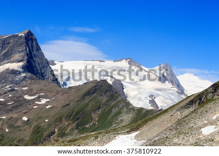 Mountain glacier panorama with summit Grossvenediger and Kristallwand in Hohe Tauern Alps, Austria - stock photo