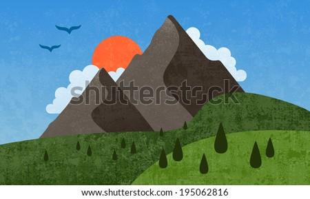 Mountain graphic design illustration with textured features - stock photo
