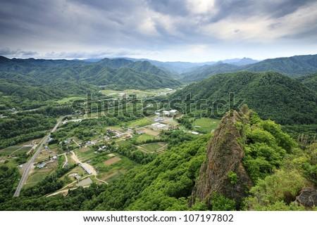 Mountain Hakkenzan in Sapporo in Japan. - stock photo