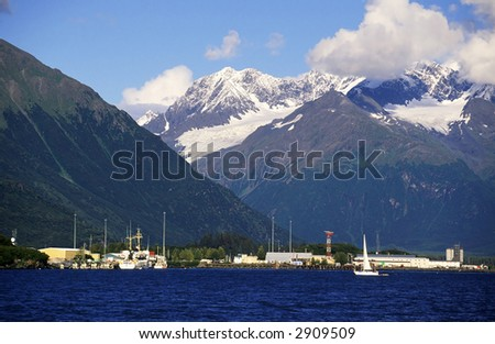 Mountain harbour in the bay. - stock photo