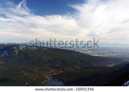 Mountain hiking view during winter season. - stock photo