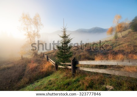 Mountain hills at misty autumn morning