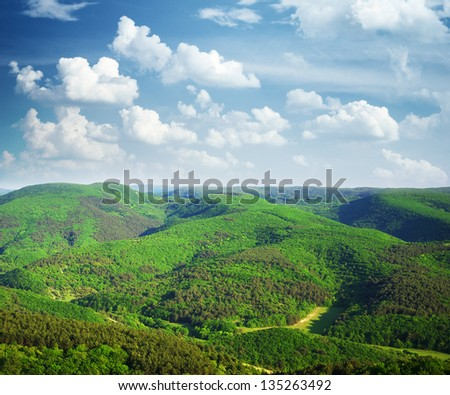 Mountain hills landscape. Nature composition. - stock photo