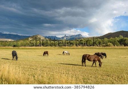 Mountain Horse Ranch - Autumn storm clouds coming over a mountain horse ranch, seen from Owl Creek Pass Road, near Ridgeway, Colorado, USA. Chimney Peak and Courthouse Mountain are in the background. - stock photo