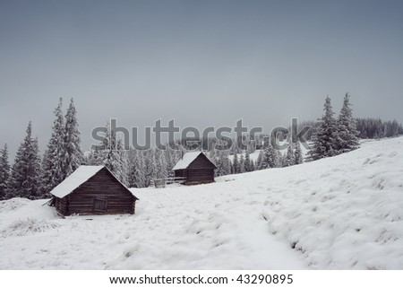 Mountain house in snow, winter day