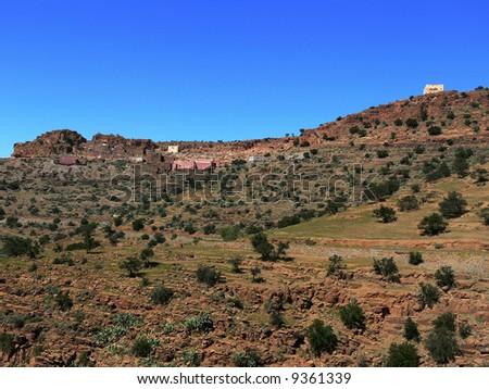 Mountain houses in Morocco - stock photo