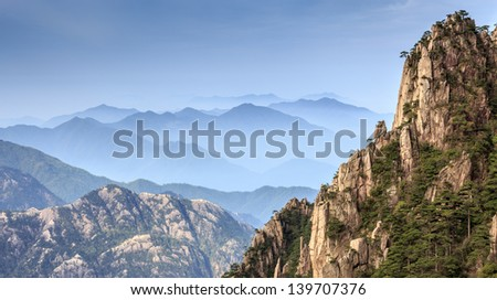 Mountain Huangshan in the morning, Anhui province,China - stock photo