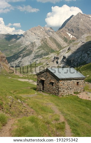 mountain hut in French Pyrenees  - stock photo