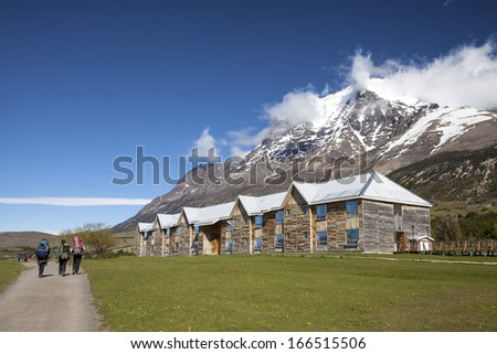 Mountain huts, National Park Torres del Paine, Chile, Patagonia. - stock photo