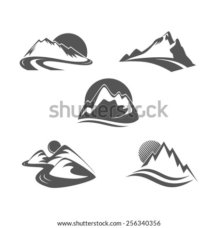 Mountain icons set - stock photo
