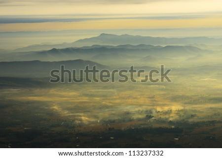 Mountain in the mist - stock photo
