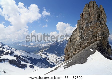 mountain in the Swiss Alps - stock photo