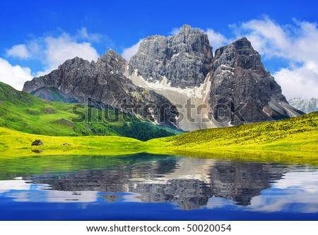 Mountain lake. - stock photo