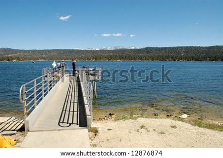 Mountain lake fishing pier; Big Bear Lake, California