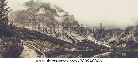 Mountain lake in a High Tatras, Slovakia  - stock photo