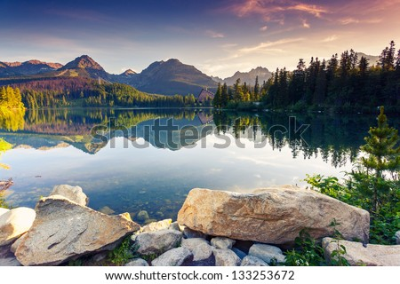 Mountain lake in National Park High Tatra. Strbske pleso, Slovakia, Europe. Beauty world. - stock photo