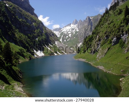Mountain Lake In Swiss Alps - stock photo