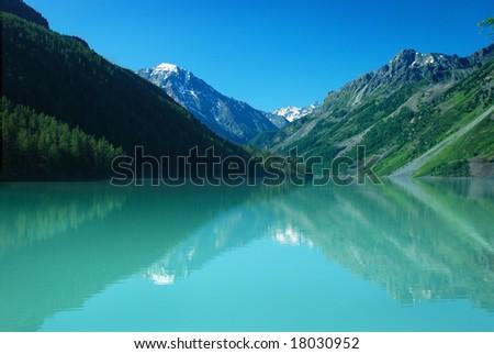 Mountain lake Kucherlinskoe, Altai, Russia - stock photo