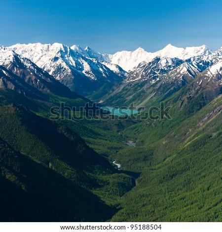Mountain lake Kucherlinskoe from above, Altay, Russia - stock photo