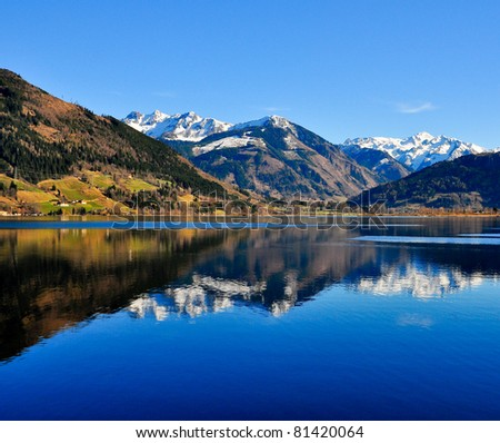 Mountain lake landscape view