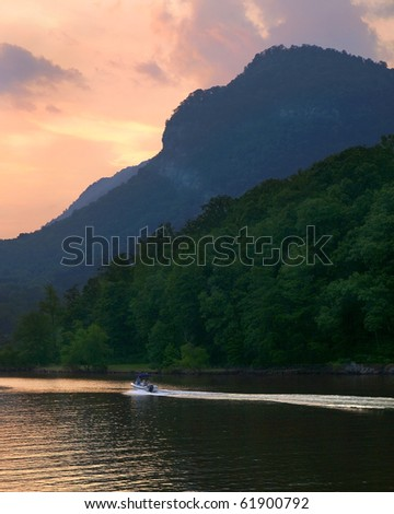mountain lake lure - stock photo