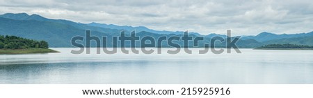 Mountain lake panorama view - stock photo