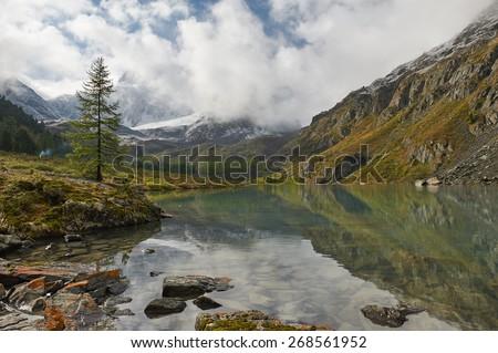 Mountain lake, Russia, Siberia, Altai mountains, Chuya ridge. - stock photo
