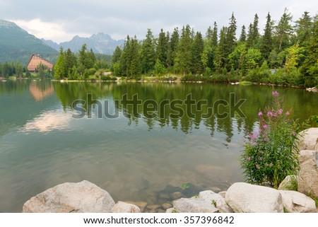 Mountain lake Strbske Pleso in High Tatras, Slovakia - stock photo