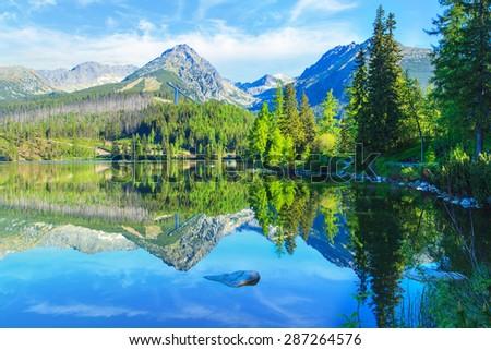 Mountain lake Strbske pleso in National Park High Tatra, Slovakia, Europe - stock photo