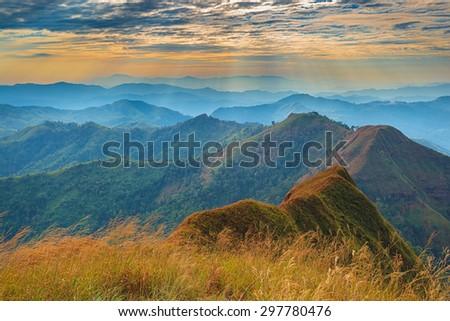 Mountain landscape and god light - stock photo