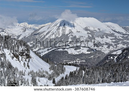 Mountain landscape and scenery in the Swiss Alps, Switzerland. - stock photo