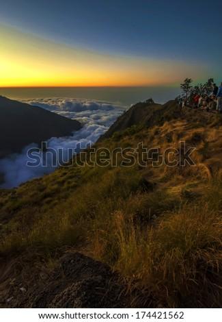 Mountain Landscape at Dusk. Mount Rinjani, Lombok, Indonesia - stock photo