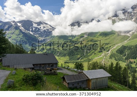 Mountain landscape at Grossglockner High Mountain Road. Austria mountain. Summer mountain landscape. Mountain landscape, Austria. Mountain meadow view.  Austria mountains landscape. Austria mountain. - stock photo