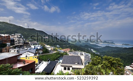 Mountain landscape at Jiufen, Taipei city, Taiwan under blue sky