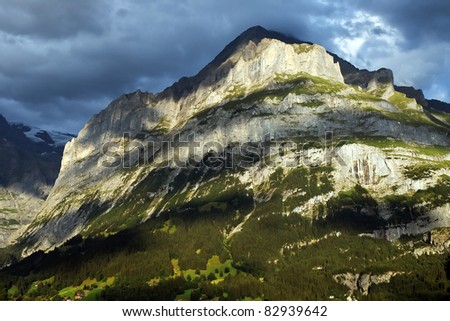 Mountain landscape, Bener Oberland, Switzerland - stock photo