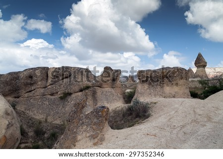 Mountain Landscape Cappadocia, Anatolia, Turkey. - stock photo