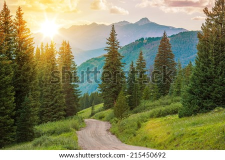 Mountain Landscape. Colorado Wilderness Backcountry Road. - stock photo