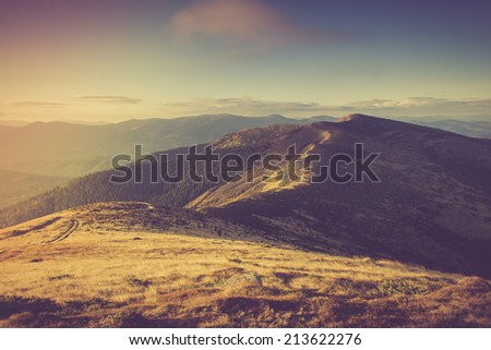 Mountain landscape. Filtered image:cross processed vintage effect.  - stock photo