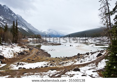 Mountain landscape found in Banff National Park in Alberta, Canada