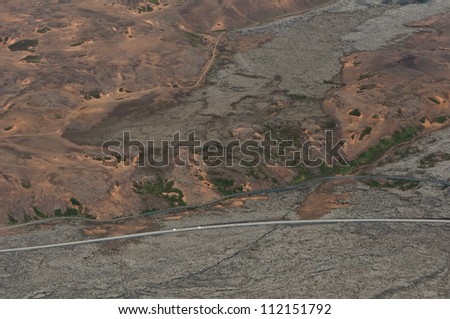 mountain landscape from high above - stock photo