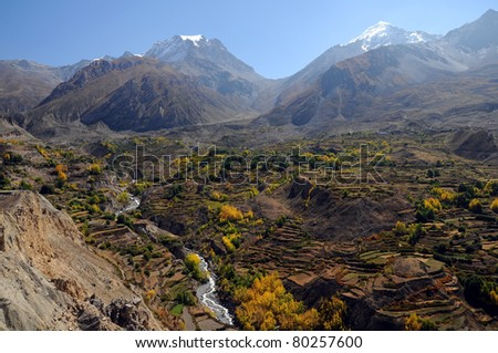 Mountain landscape in autumn time and Thorung La pass, Annapurna circuit trek, Nepal - stock photo