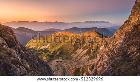 Mountain Landscape in Colourful Sunset. View from Mount Dumbier in Low Tatras, Slovakia. West and High Tatras Mountains in Background.