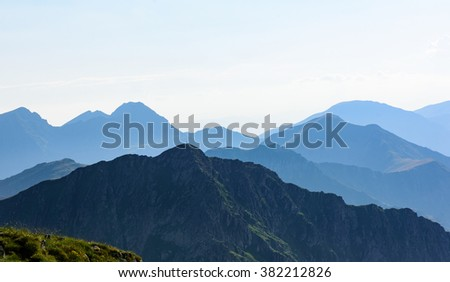 Mountain landscape in haze; - stock photo